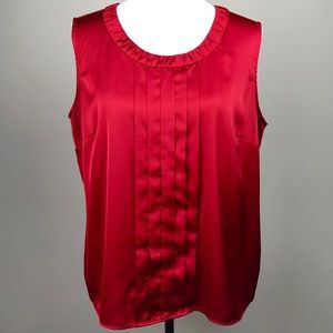 212 Collection Red Satin Pleated Sleeveless Blouse